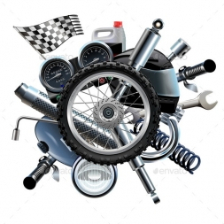 motorcycle spares with wheel